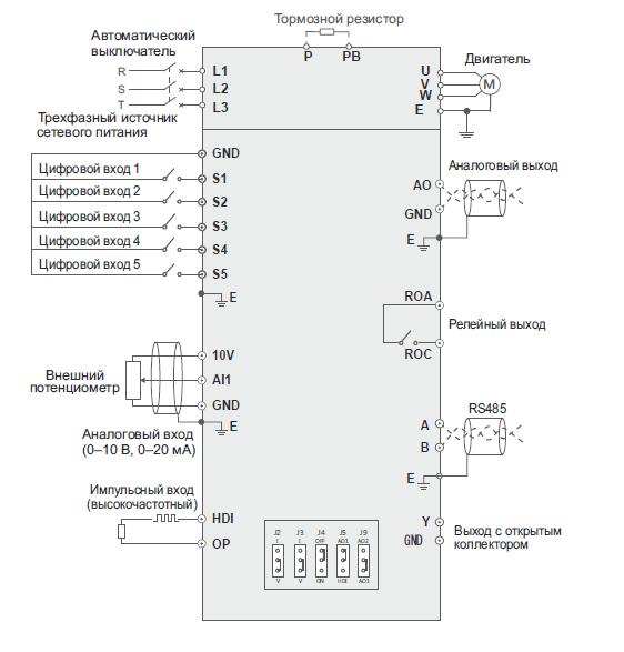 Преобразователь частоты INSTART SDI-G1.5-4B схема подключения 3 фазы