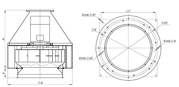 Вентилятор дымоудаления ВКР ДУ - чертеж