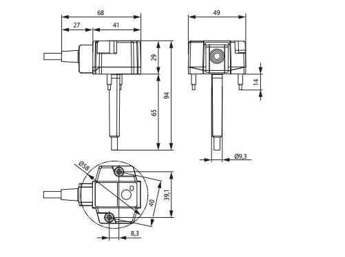 габаритные размеры Belimo BFN-Т термовыключателя
