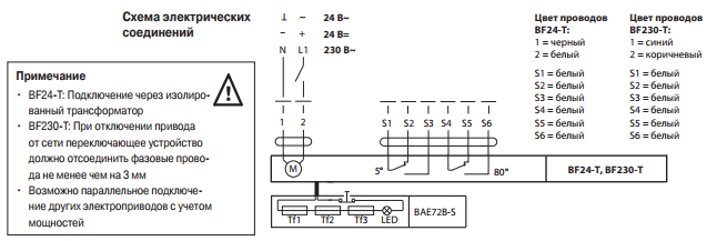 схема подключенияBelimo BF24-Т/BF230-Т