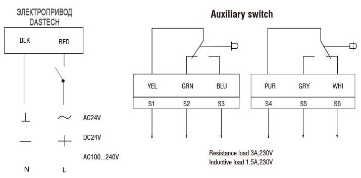 Электропривод Dastech AR схема подключения