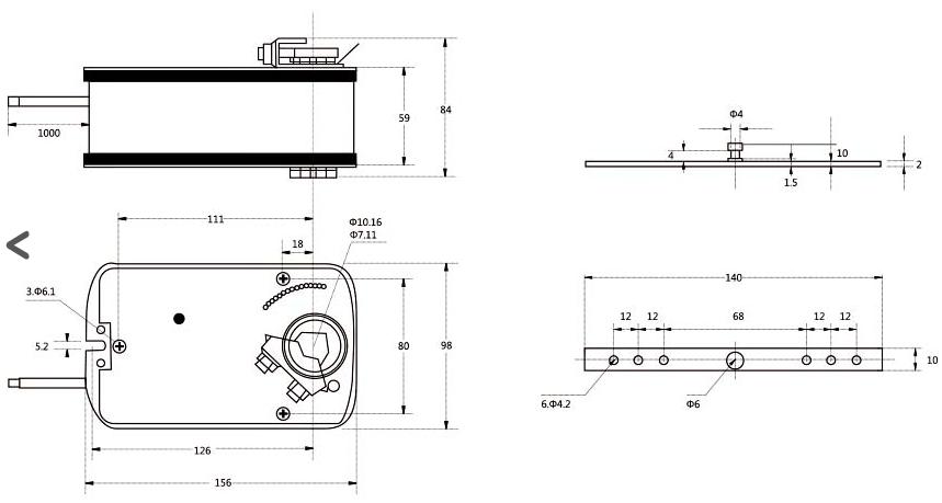 Электропривод Dastech AR размеры