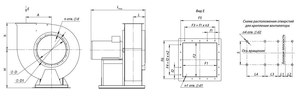 Вентилятор ВР 80-75 габаритные размеры