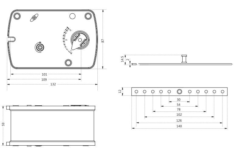Электропривод Dastech FR-03N220S 3Нм/230В габаритные размеры
