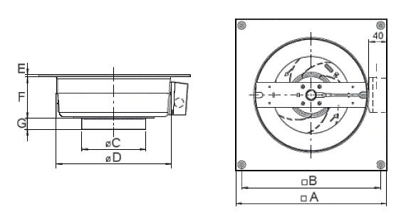 габаритные размеры вентилятора ВКВ Ф