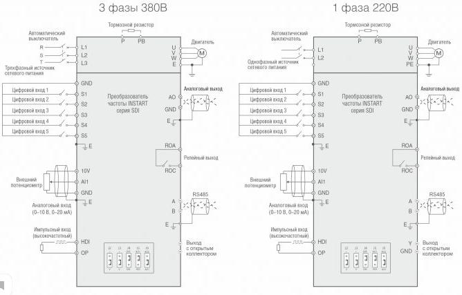 Частотный преобразователь SDI-G0.75-2B схема подключения